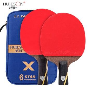 Huieson 2 adet yükseltilmiş karbon masa tenisi raketi seti 5/6 yıldız güçlü Ping Pong raket yarasa çift yüz sivilce -in lastik
