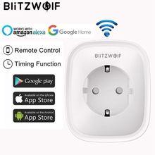BlitzWolf BW SHP5 Enchufe europeo WiFi inteligente enchufe adaptador 16A toma de corriente Salida de USB doble Control remoto temporizador funciona con Alexa Google