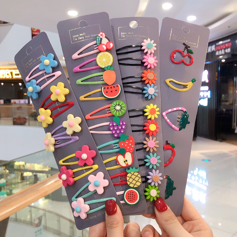 10/15 Pcs/Set Girls Cute Cartoon Animals Fruit 5 Cm Hairpins Children Lovely Hair Clips Barrettes Headband Kids Hair Accessories