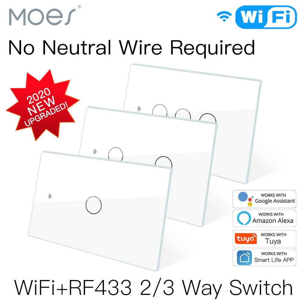 NEW WiFi Smart Light Switch RF433 No Neutral Wire Single Fire Smart Life Tuya App Control Works with Alexa Google Home 110V 220V