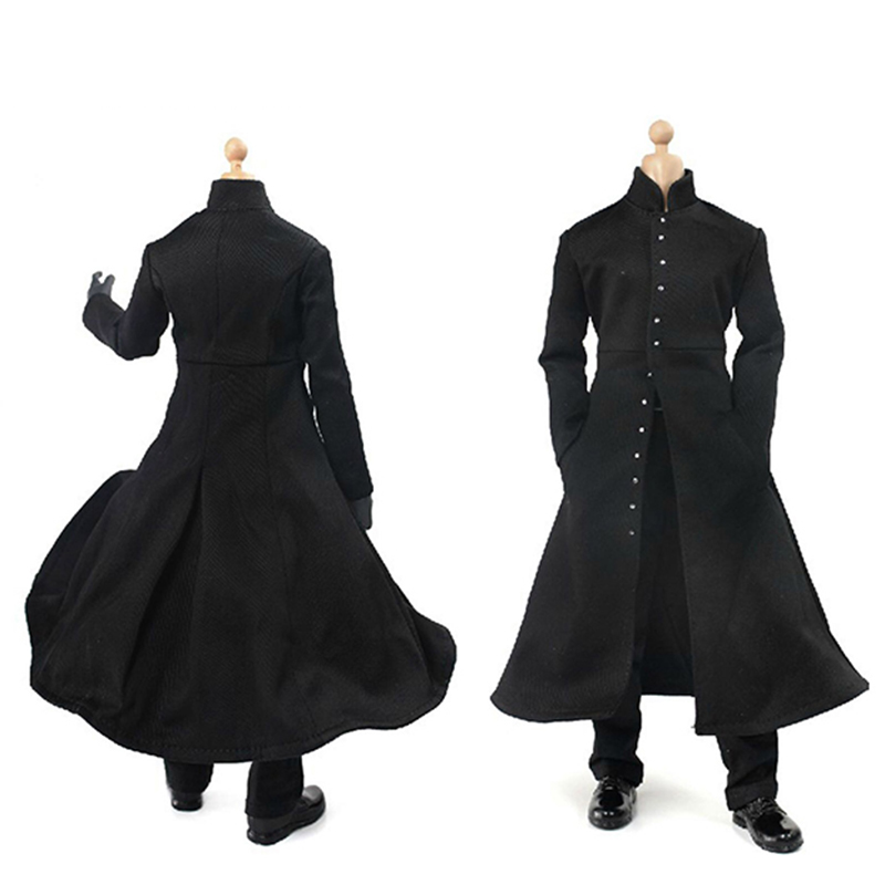 1:6 Scale Gothic Style Long Cloak for Dragon 12/'/' Figure Toy Clothes Black