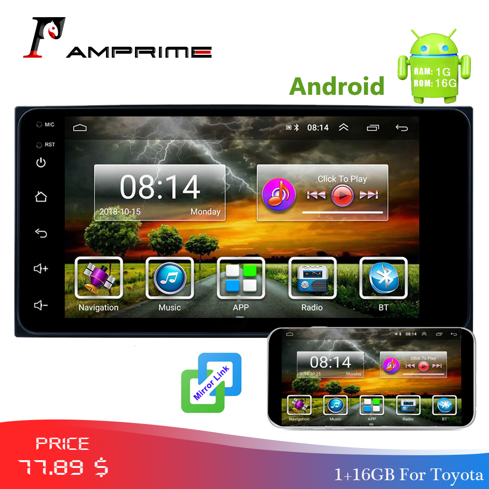 AMPrime Car Multimedia Android 2 Din Car Radio 7'' Autoradio GPS WIFi Bluetooth USB FM Mirrorlink MP5 Player With Rear Camera-in Car Multimedia Player from Automobiles & Motorcycles    1