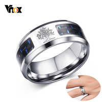 Vnox 8mm Tree Of Life Carbon Fiber Rings For Men Stainless Steel Male Alliance Casual Wedding Bands Jewelry USA Warehouse