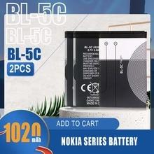 2PCS 1020mAh BL-5C BL5C BL 5C Li-ion Battery For Nokia 1100 1112 1208 1600 2610 2600 2700 3100 3110 5130 6230 N70 N71 Phone Cell
