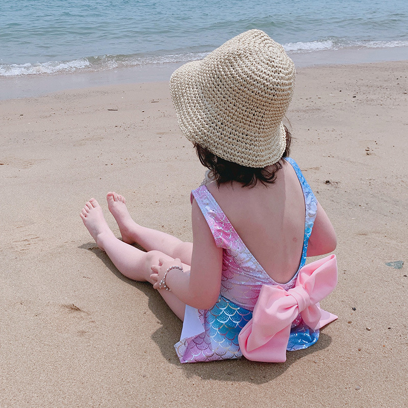 Mermaid Girls Dress-One-piece Swimming Suit-Style Bow GIRL'S CHILDREN'S Swimwear Triangle Small Children