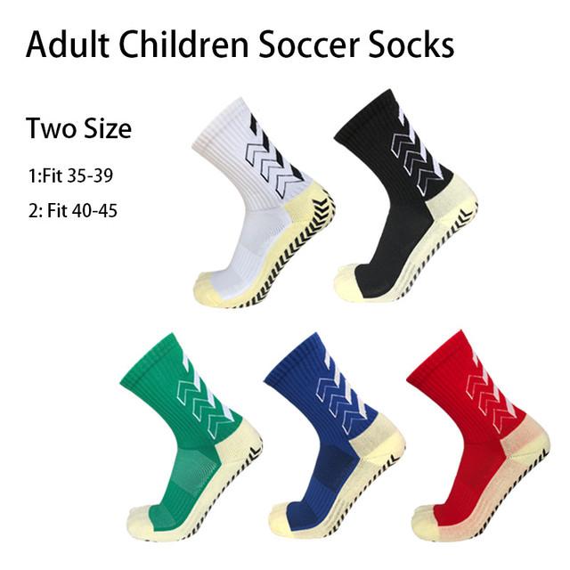 Adult Children Soccer Socks Two Size Anti Slip Rubber Block Football Socks Men Boys Rugby Baseball Basketball Socks