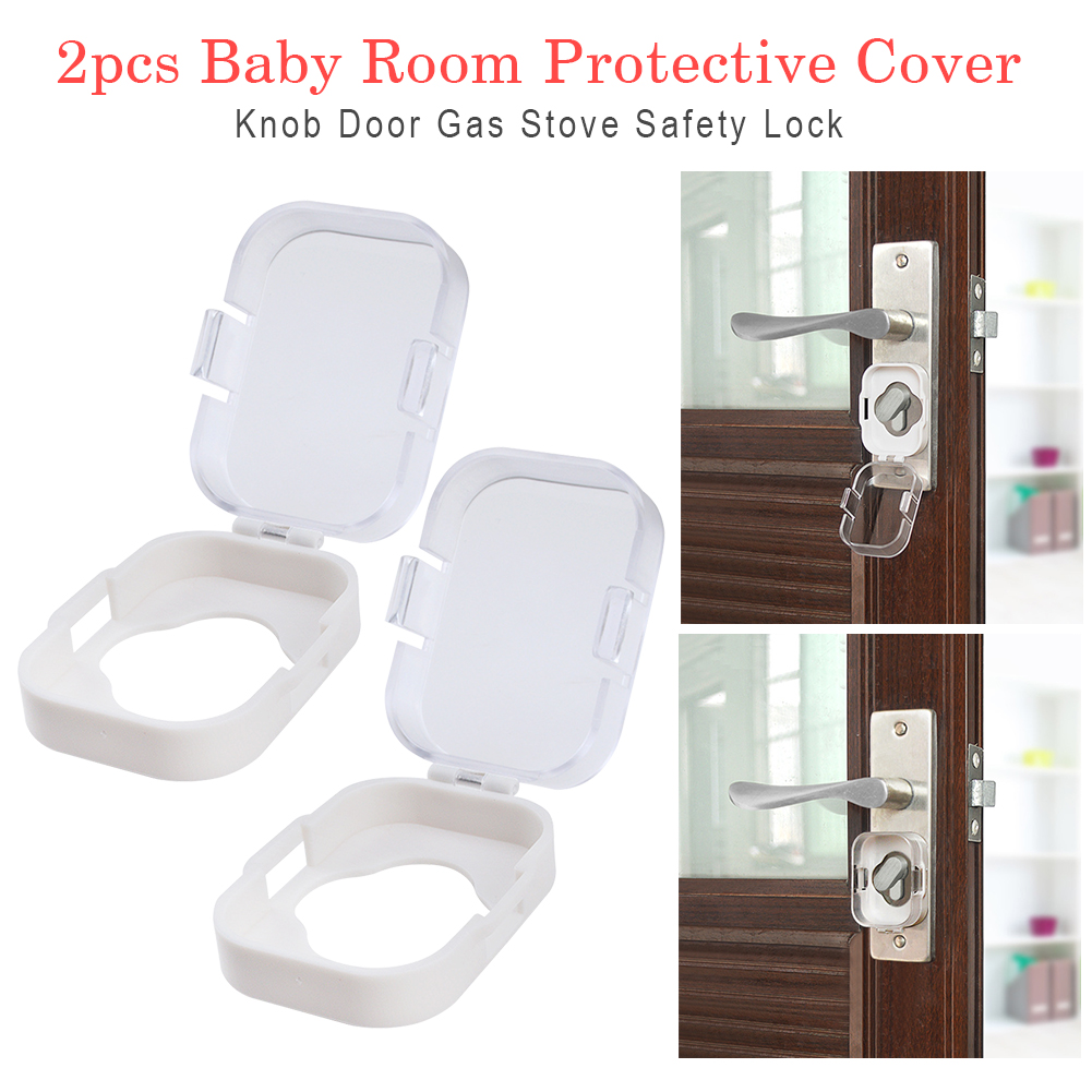 2pcs Safety Lock Knob Guard Security Cupboard Protective Cover Door Baby Room Gas Stove Adhesive Cabinet Child Switch Toilet