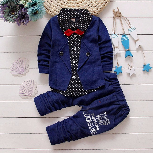 2017 Boys Spring Two Fake Clothing Sets Kids Boys Button Letter Bow Suit Sets Children Jacket + Pants 2 pcs Clothing Set Baby 1