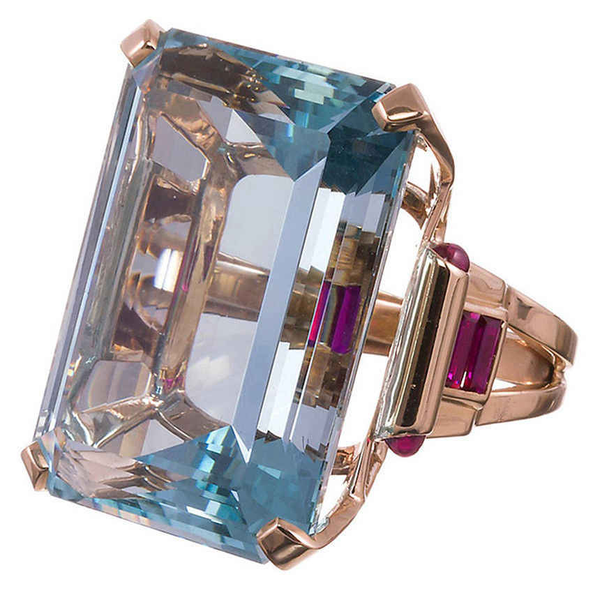 فاخر خمر البحر الأزرق توباز خاتم الماس الأحمر اكسيد الالمونيوم مطلي خاتم الذهب الوردي للنساء المشاركة الزفاف هدايا حفلات مجوهرات