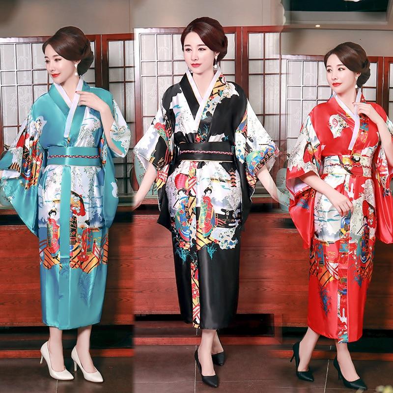 Women MiKu Demon Traditional Costume GUMI Black Furisode Kimono Dress Set Outfit