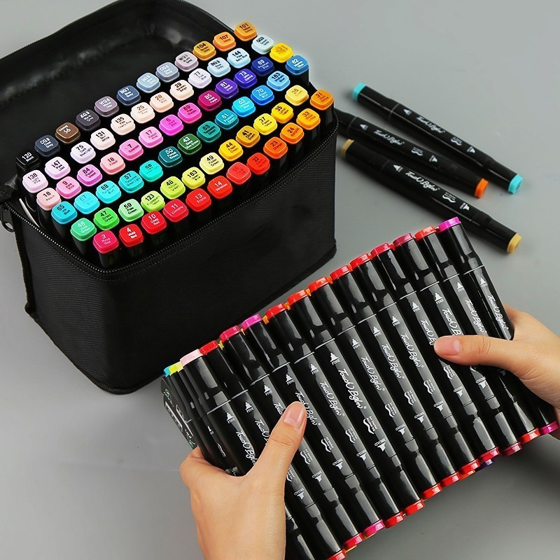 30/40/60/80 PCS Colors Dual Head Art Markers Set For Painting Drawing Art Supplies Marker Pen Manga Design Animation Manga 04363