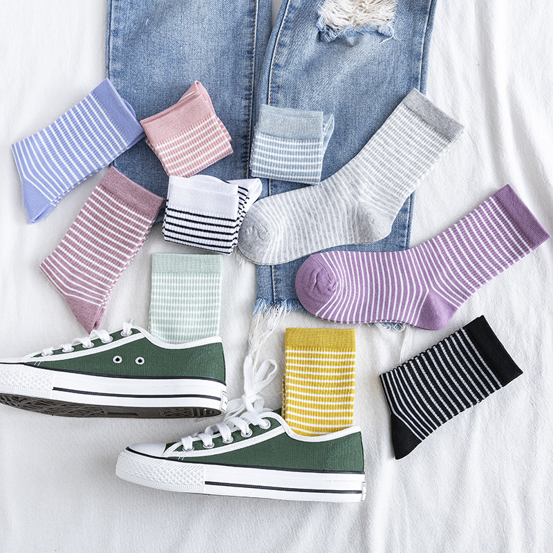 Japanese Korean Style Candy Colors Woman Socks Cotton For Spring Autumn Loose Socks Women Pink Calcetines Mujer Meias