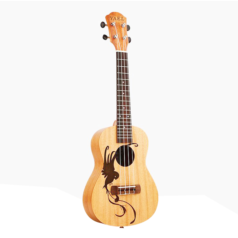 Top Quality 21 Inch 4 Strings Ukulele Rosewood Fretboard Hawaiian Mini Guitar Music Instrument Auspicious Bird Ukelele UK2104