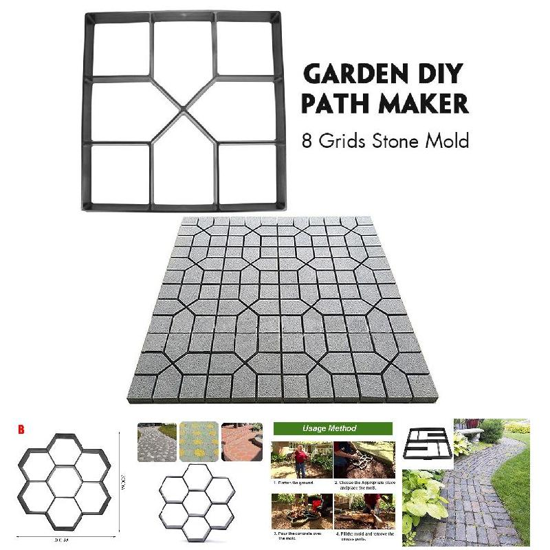 Hot Sale Garden DIY Plastic Path Maker Pavement Model Concrete Stepping Stone Cement Mould Brick TY