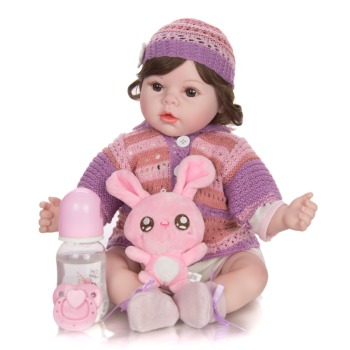 40cm soft silicone vinyl rebron baby doll non toxic safe toy handmade lifelike newborn baby toy doll for children girls playmate curls Baby Girl Doll 50 cm Silicone reborn baby Lifelike Bebe girl  Bonecas soft Handmade Reborn Baby Children fashion gift toy