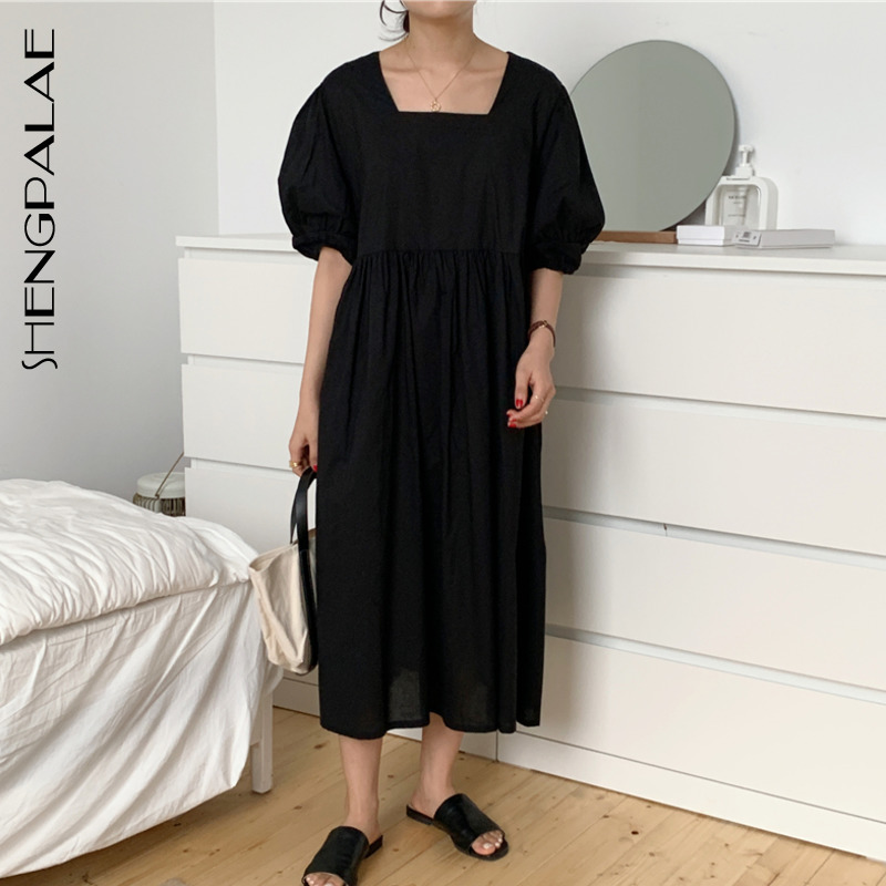 SHENGPALAE 2020 New Summer Women Vintage Loose High Waist Slim Was Thin Elegant Solid Color Puff Sleeve Maxi Dress ZA4351