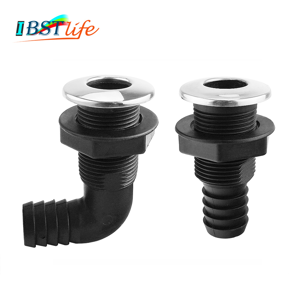 Nylon Plastic Thru Hull Bilge Fitting With Stainless Steel Rim Bilge Pump Aerator Hose  Boat Marine Yacht Sail RV Accessories