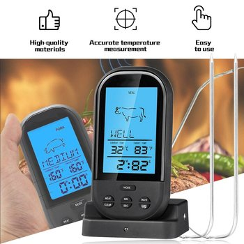2021 Black Wireless Digital LCD Display BBQ Thermometer Kitchen Barbecue Digital Probe Meat Thermometer BBQ Temperature Tool 1