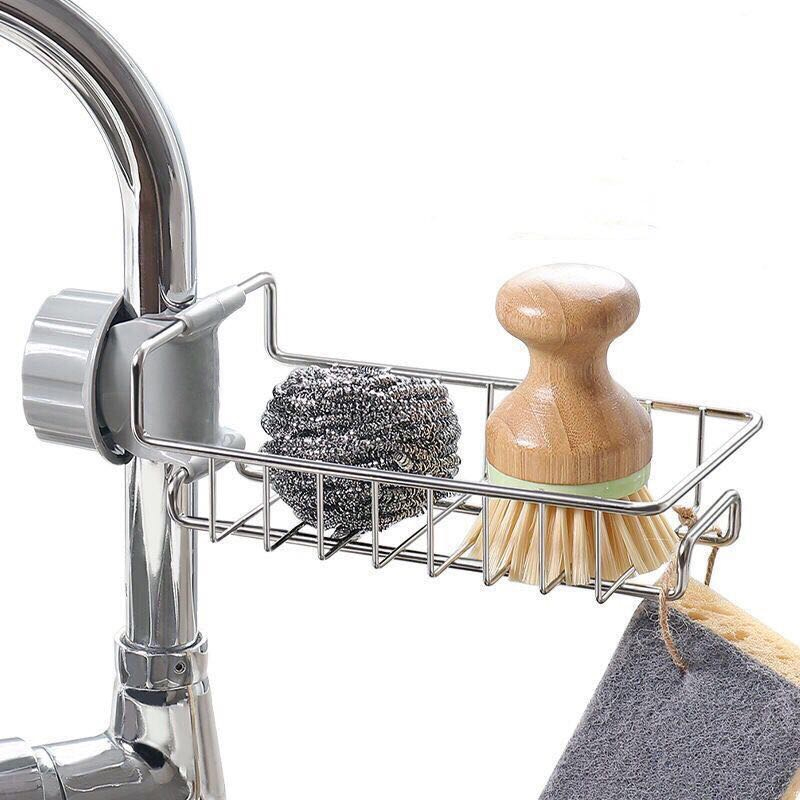 Faucet Rack Kitchen Storage Stainless Steel Faucet Shelf Sponge Dish Cloth Finishing Rack Drain Rack Pool Rag Storage Rack