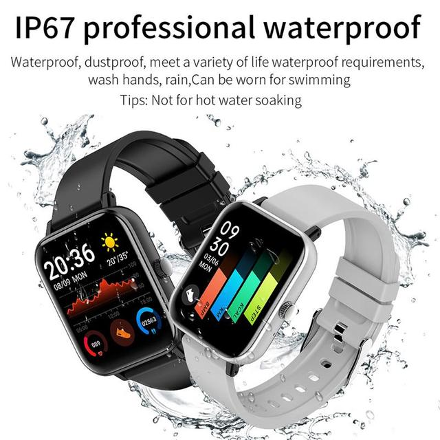 New Smart Watch Electronic Sports HD Touch Bluetooth Call Bracelet with Heart Rate Detector, Pink/Black/Silver Gray/Blue 3