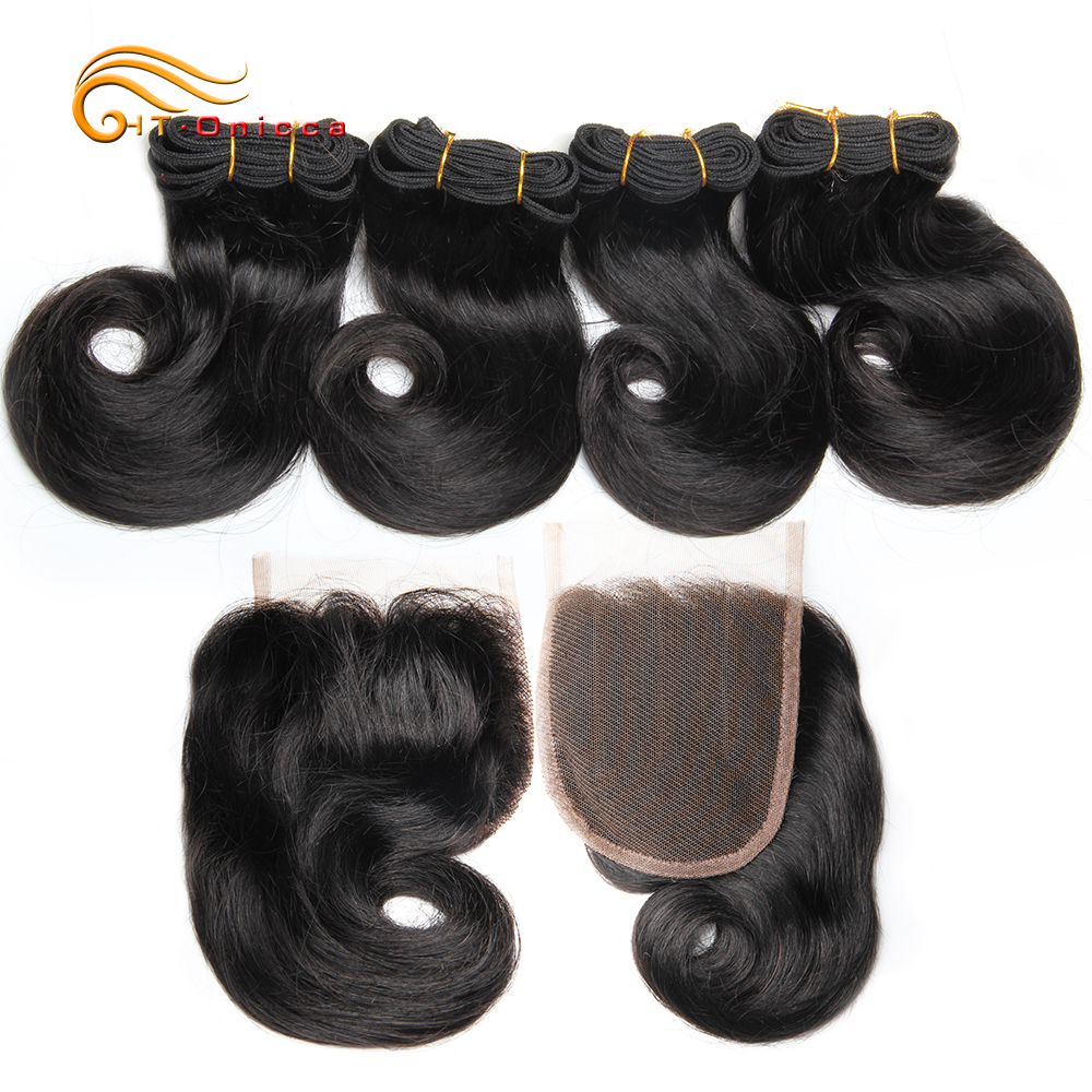 Curly Bundles With Closure Brazilian Human Hair-Extensions 4Pcs With Closure In Ombre Weave Weft 8 Inch T1B 27 30 BG Htonicca