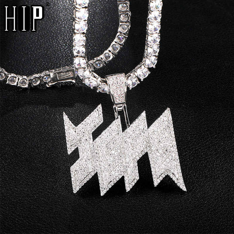 Hip Hop Iced Out AAA Bling Micro Paved CZ Zircon JEFE Pendants & Necklaces For Men Rapper Jewelry With Tennis Chain