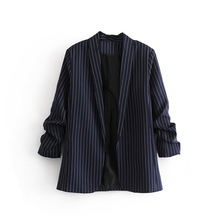 blazer women 2020 Spring and autumn new casual buttonless striped pleated sleeve blazer women clothes Jackets for women top