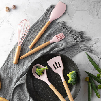 11pcs  Silicone Cooking Utensils Set ,Pink Solid Wood Handle With Storage Box, Kitchenware Kit Kitchen Tools Accessories 2