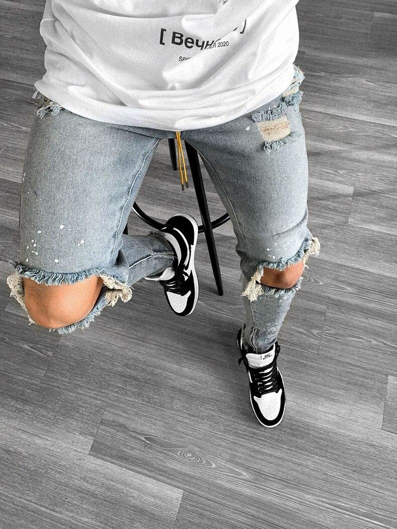KSTUN Guys Ripped Skinny Jeans Knee Broken Holes Hip Hop Jeans Men Distressed Painting Black Blue 19