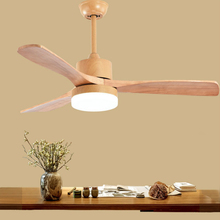 купить LED Ceiling Fans wooden lamp For Living Room 220V Ceiling Fan With Lights 42 48 52 Inch Blades Cooling Remote Dimming дешево