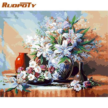 RUOPOTY  DIY Frame Flowers Oil Painting By Numbers Hand Painted Gift Acrylic Paint Drawing By Numbers Vase Decoration Kits