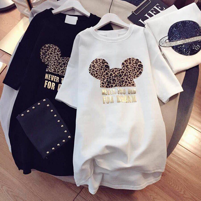 Paris Girl Women T Shirt Korean Kawaii Tops 90s Leopard Plus Size Long T Shirts Cartoon O-Neck Korean Shirt