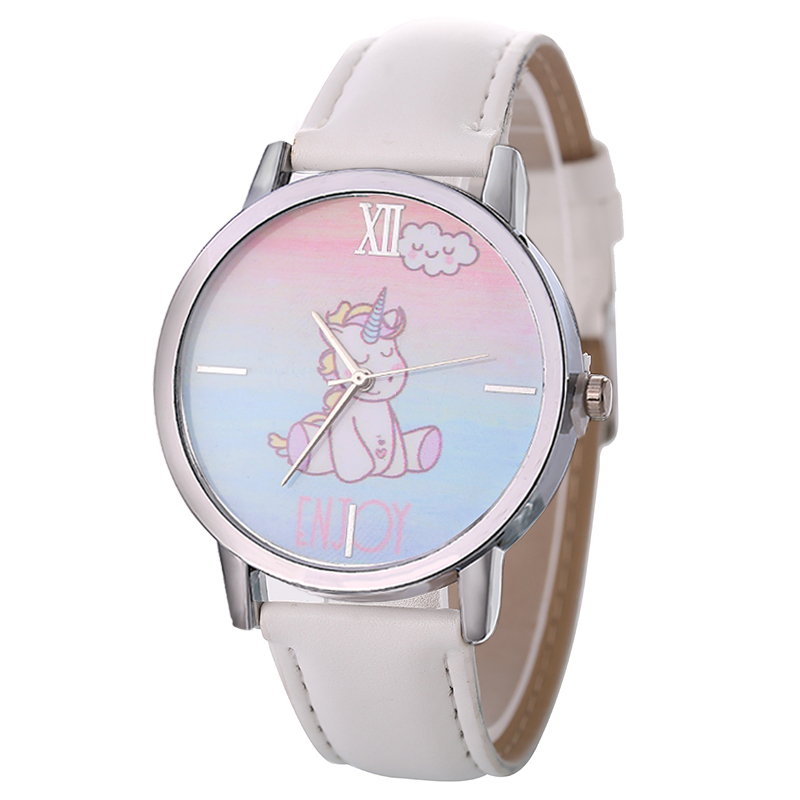 Giá bán Kids Watches Children Cute Unicorn Cartoon Watch Boys and Girls Leather Strap Toy Wrist Watches Gifts