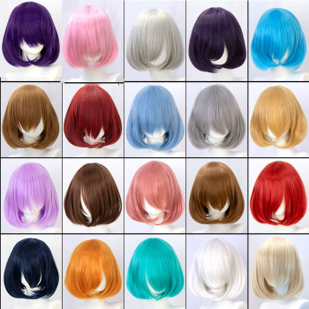 DIFEI Synthetic wig short bob straight hair with trimable bangs pink red blue purple cosplay wig for women short wigs sayosamonji inclined bang fluffy natural straight gorgeous blue short cosplay wig with bunches