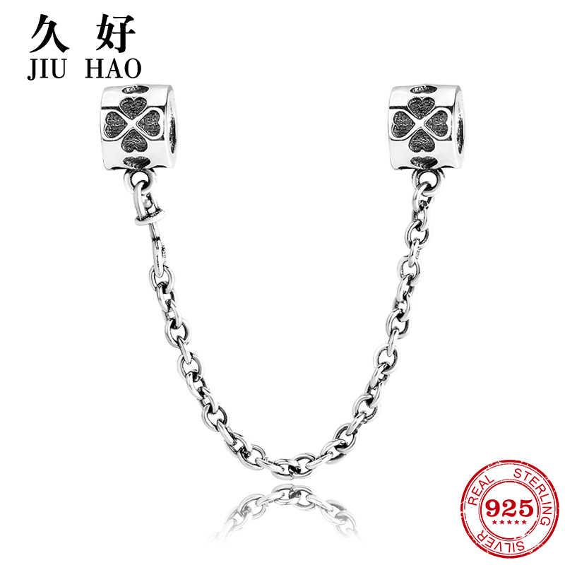 Nyata 925 Sterling Silver Bead Empat Daun Semanggi Safety Chain Charm Diy Fit Asli Eropa Pesona Gelang Fashion Perhiasan