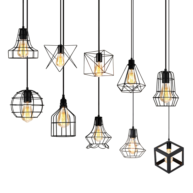Pendant Light LED Retro Restaurant Hanging Lamp Industrial wind Loft Lighting Fixtures For Kitchen B