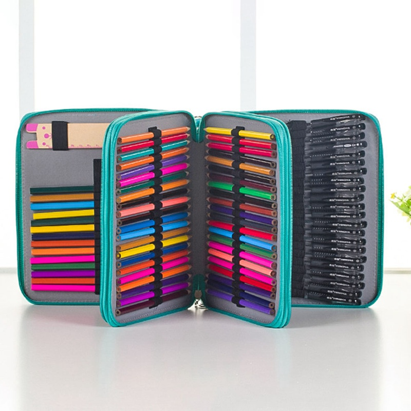4 Layers Pencil Case Bag Organizer Storage Handy Leather Large Capacity Pen Holder Box For Student Gift Art Supplies