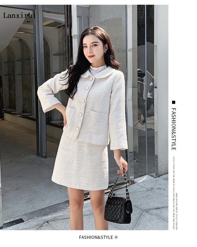 Fashion  Autumn New Pattern Small Fragrant Wind Woollen Coat+Short Skirt 2 Piece Suit Women's Clothing  Turn-down Collar