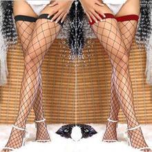 Verão mais novo feminino sexy sólido laço longo topo ficar até a coxa alta sexy magro meia malha fishnet preto meias 3 cores