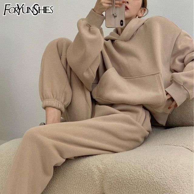 Two Piece Set Womens Outfits Y2k Oversized Tracksuit Suit Short Hoodies Tops Casual Sweatshirts Jogging Pant Suits Sweatpants 2
