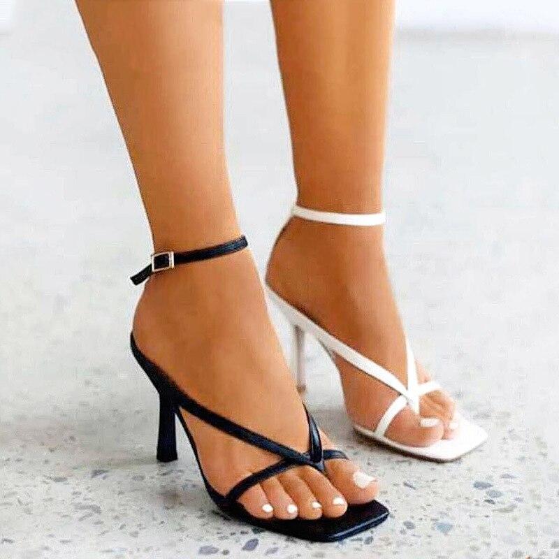 Women Shoes Woman Pumps Sandals High Heels Shoes Flip Flops High Heels Ankle Strap Summer Pumps 2020 Sexy Square Toe Sandals