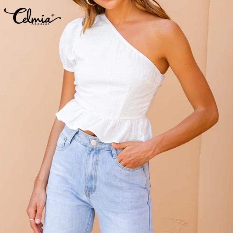 S-5XL Celmia 2020 Summer Vintage Cotton Casual Top Women Short Sleeve One Shoulder Blouse Ruffles Hem Solid Female Shirt Blusas