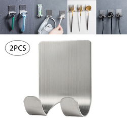 2 Pcs 304 Stainless Steel Punch Free Razor Holder Storage Hook Men Shaving Shaver Shelf Rack Wall Organizer Bathroom Accessories