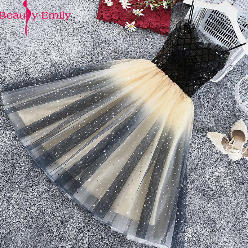 Beauty Emily Charming Sweetheart Sleeveless Tulle Short  Evening Dresses 2019 Sexy Strap Party Prom Gowns Vestidos De Gala