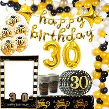 Weigao balões de látex, balões de 30 confete dourados e pretos para adulto, de aniversário