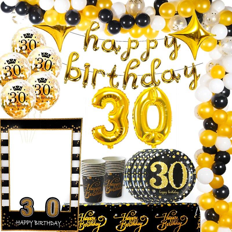 Weigao ouro/preto 30th aniversário balões látex adulto trinta 30 confetes balões feliz 30 número bolas globos suprimentos