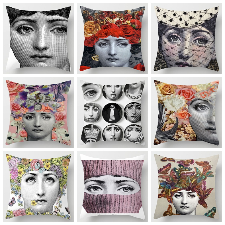ZENGIA Retro Fornasetti Art Master Cushion Cover Women Face Pillow Cover For Home/Sofa/Car Seat Decorative Pillows Zara*women