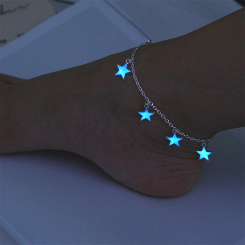 European and American beach wind blue pentagonal star tassel ankle chain luminous star bracelet ankle bracelet ornament