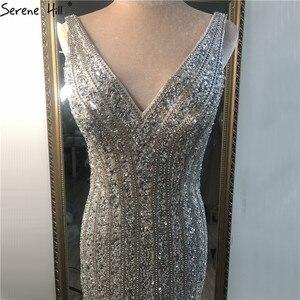 Image 4 - Vestidos plateados de lujo con escote en V profundo para baile de graduación, vestidos de fiesta de estilo sirena Serene Hill BLA70228 con espalda descubierta y diamantes de lentejuelas 2020