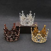 Tiaras de boda de cristal, corona pequeña, para hornear pasteles, joyería decorativa para cabeza, accesorios para el cabello de diadema pequeña para niños
